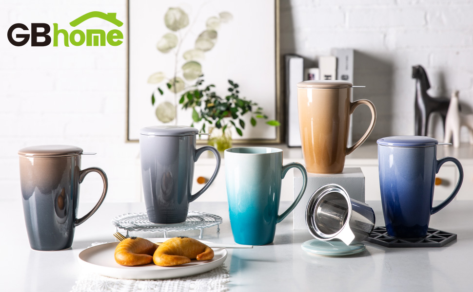 GBHOME Tea Cups with Infuser and Lid