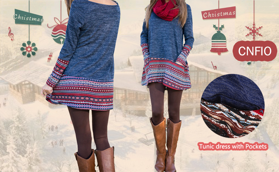 christmas tunic dress for women
