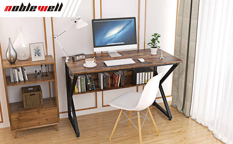 Computer Desk with Bookshelf 47 Inch Office Desk,Industrial Study Writing Table