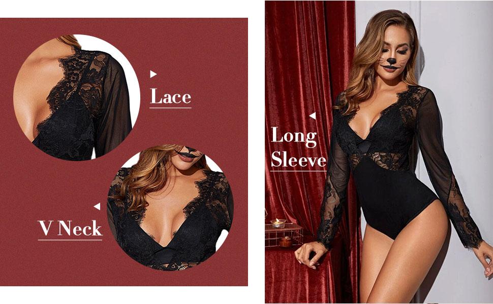 Women's Sexy Lace V Neck Clubwear Top Sheer Mesh Long Sleeve Bodysuit