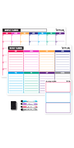 Dry erase magnetic calendar with markers pet erases easily monthly weekly daily fridge planner