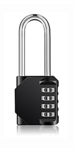 4 digit combination padlock long shackle neck hook shank long padlock outdoor heavy duty