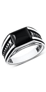Black Onyx Ring Arrow Pattern