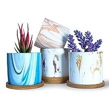 3.8 Inch Marble Succulent Pots