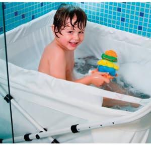 baignoire antid/érapante avec d/étection de la temp/érature en temps r/éel si/ège int/égr/é et appuie-t/ête doux Bassin de douche pliable pour b/éb/é pour les jeunes enfants de 0 /à 5 ans