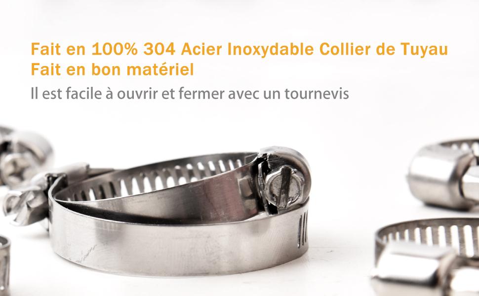 ,304 Acier Inoxydable Collier Tuyau Pinces Clips 8-38mm Ajustable en Utilisant Tuyau deau//r/éservoir de gaz//machine /à laver//piscine//voiture etc 75Pi/èces VIGRUE Collier de Serrage