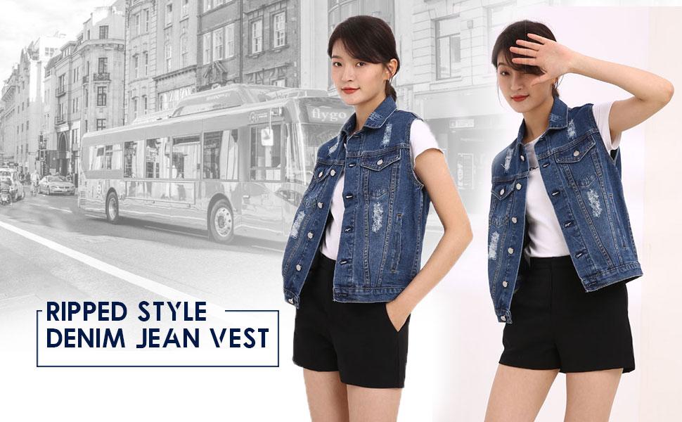 Womens Ripped Jean Vest