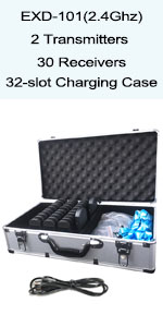 EXD-101 2 transmitters 30 receivers and 32-slot charging case