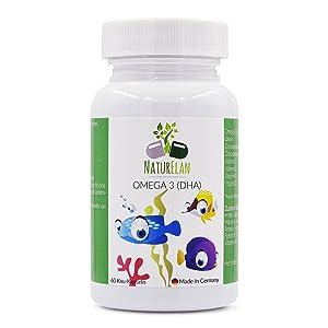 Omega-3 para niños más vitamina A, vitamina C, vitamina D y vitamina E para niños, NaturElan, 60 pequeñas cápsulas masticables con sabor a grosella roja, ácidos grasos omega-3 ultrapuros (EPAX ©): Amazon.es: