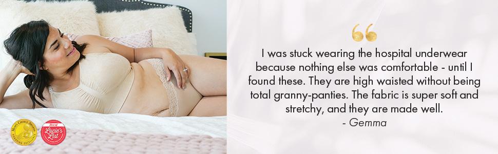 Woman wearing beige high waist postpartum underwear with quote