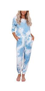 Two Piece Pajamas Tie Dye Printed
