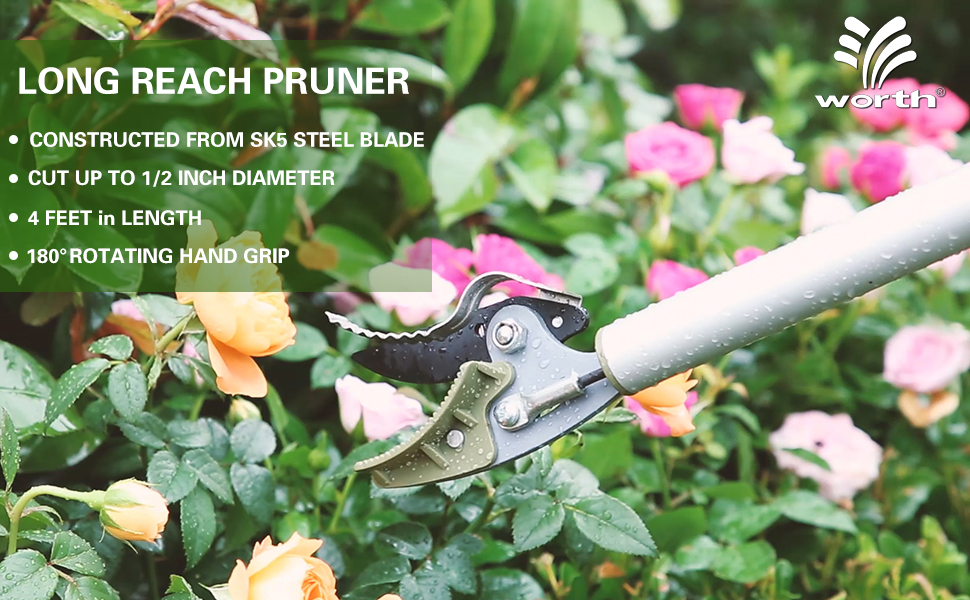 Garden Tree Pruner Lawn Trimmer Pruning Shears Long Reach Cutting Tool Kit Red