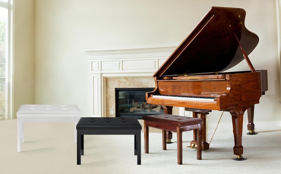 duet piano bench black brown