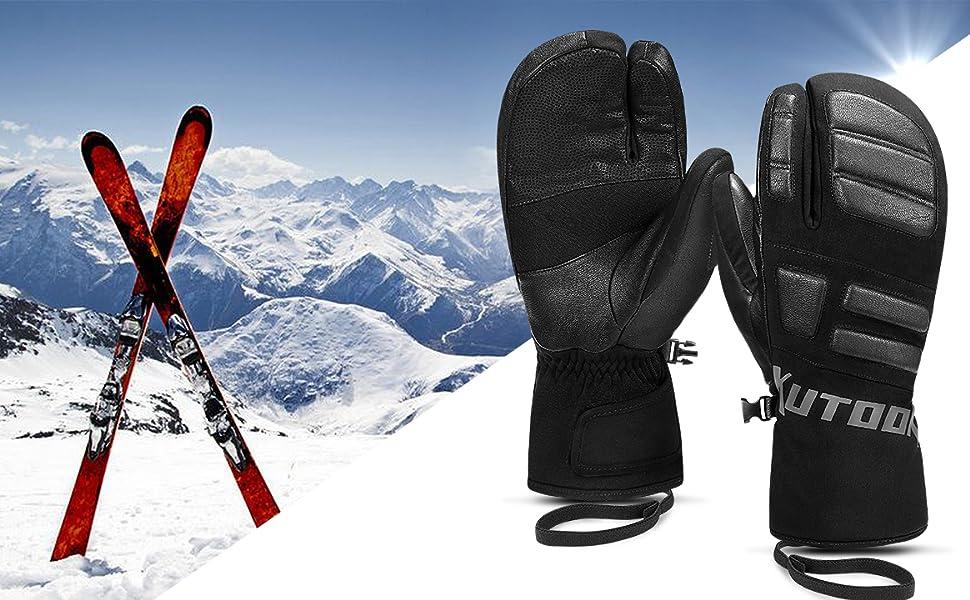 KUTOOK Guanti Termici da Sci e Snowboard da Uomo//Donna Impermeabili Antivento e Resistente per Sport Invernali