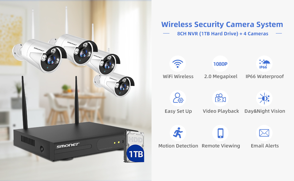 Functions  【1TB Hard Drive Pre-installed】SMONET 1080P Wireless Security Camera System,8-Channel Full HD Wireless Home Camera System, 4pcs 2.0MP Indoor Outdoor Surveillance Cameras,P2P,Super Night Vision,Free APP df734019 665c 4bb8 bc43 2e2f9f3f3be9