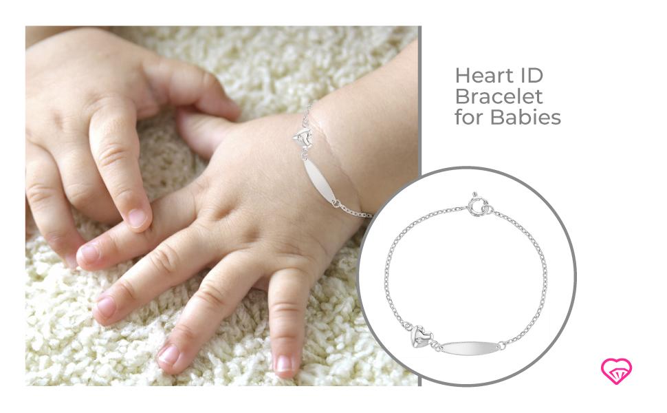 Handmade 925 Sterling Silver Tag Bracelet for Babies Silver Tag For Babies Silver Bracelet Baby Gifts for Babies Unisex Baby Bracelets