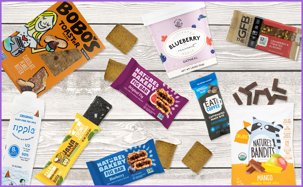 Bunny James Vegan Breakfast Box is 9 individually wrapped Vegan bars breakfast snacks.