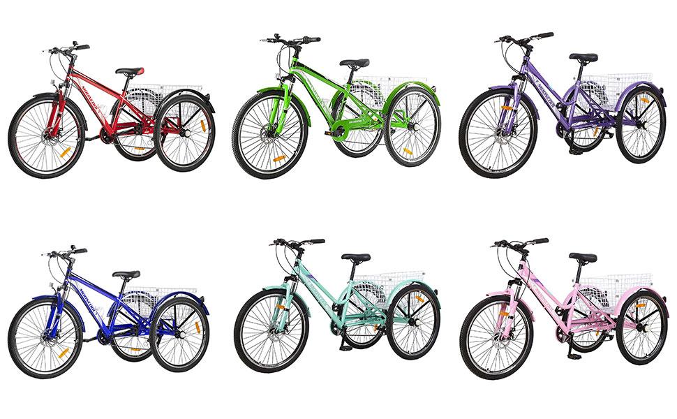 Adult Mountain Bike Adults 7 Speed Men's Women's Cruiser Trike Bike