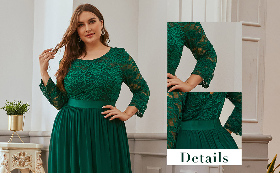 Ever-Pretty Women's Elegant Plus Size Prom Dresses for Formal Party Lace Dresses with Long Sleeve
