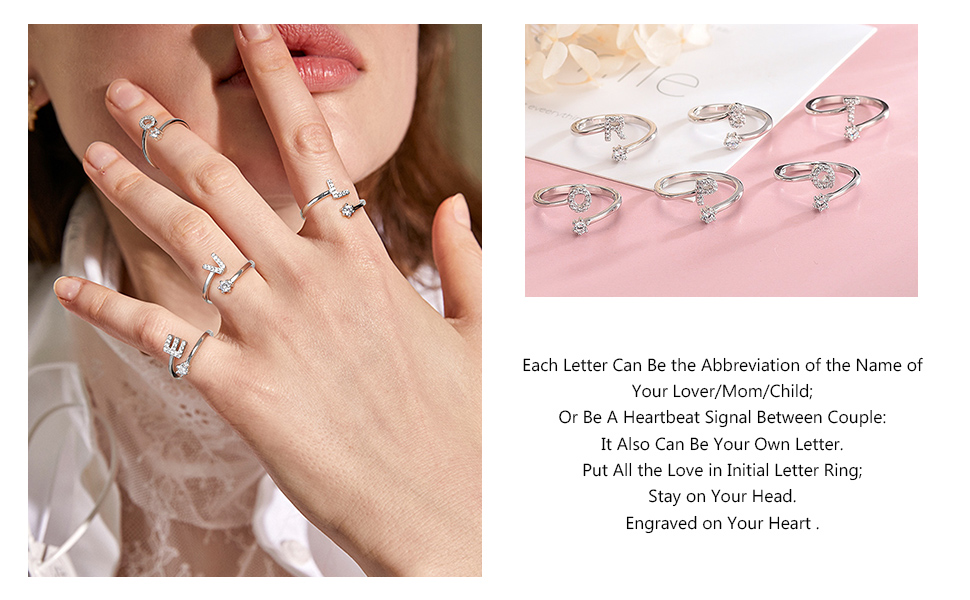 Lettera iniziale alfabeto Knuckle Rings