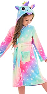Cesriter Unicorn Hooded Bathrobe Sleepwear Matching Doll /& Girls Gifts