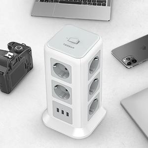 Mehrfachstecker Steckerleiste Überspannungsschutz verteilersteckdose Stromverteiler für Zuhause Büro