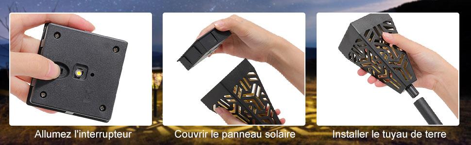 Éclairage Solaire Extérieur Étanche Lumière Solaire Extérieure à LED Éclairage Solaire