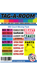 4 bedroom home color-coded moving box labels