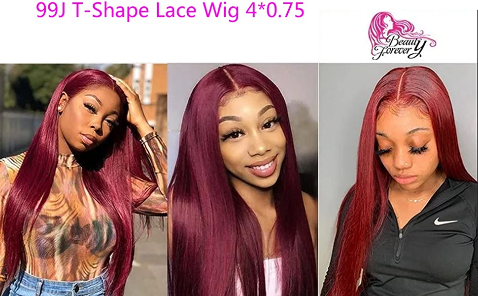 Straight 99J Color T-Shape Lace Front Wig Brazilian Human Hair Pre-plucked Hand Tied Lace Part Wig