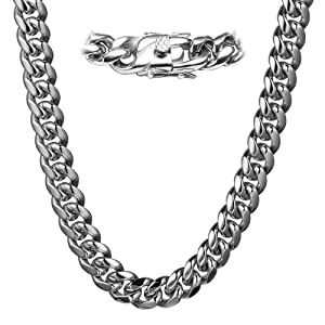 Chunky Chain Necklace Men Thick 316L Stainless Steel Curb Cuba Chain
