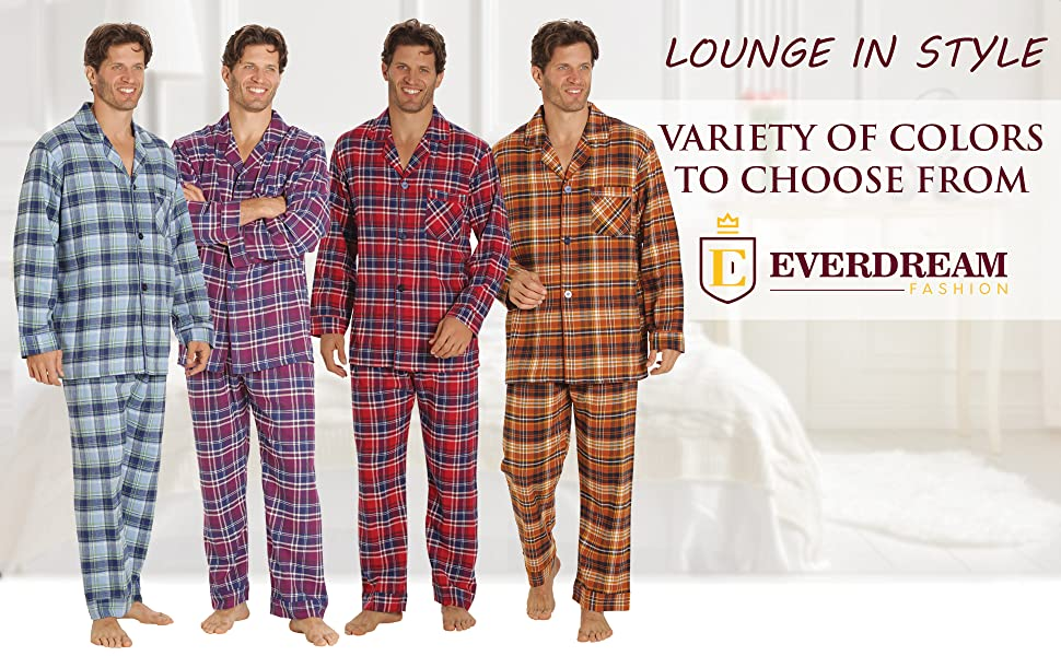 Everdream Flannel Pajama Sets for Men Colors