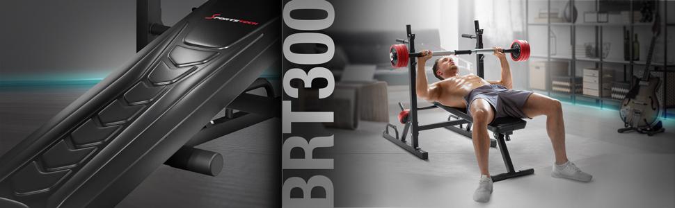 Sportstech BRT300, hantelbank, fitnessbank, trainingsbank, opdruksteunen, gewichtenhouders