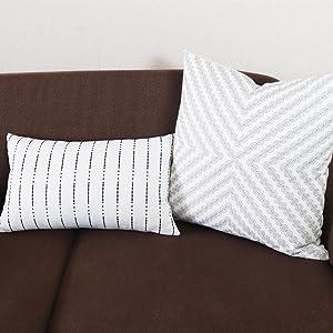 navy stripe lumbar pillow