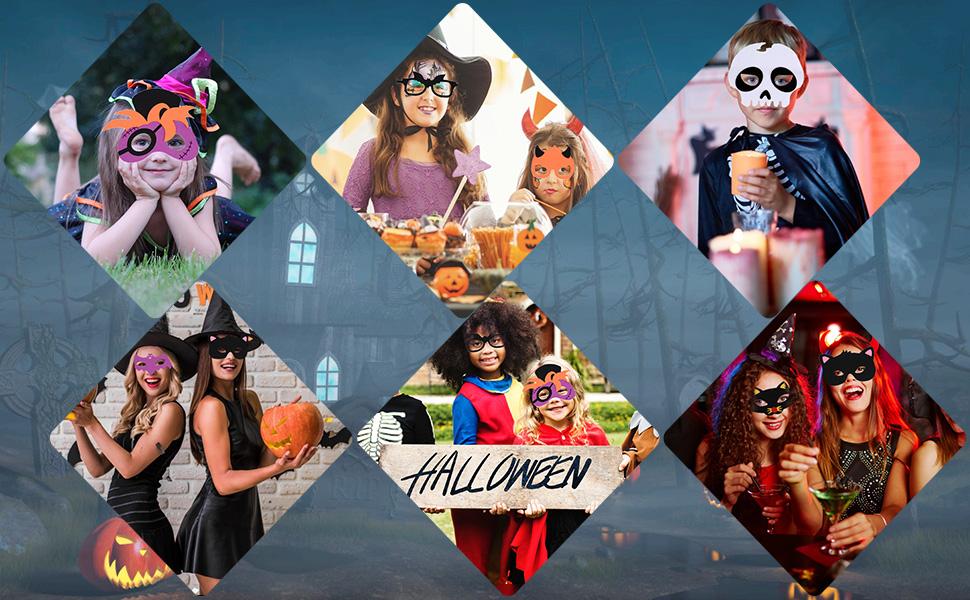 Felt Skeleton Masks Party Face Eyes Mask, B bangcool Skull Devil Pirate Scary Eye Mask Party Costume Supplies (3PCS)