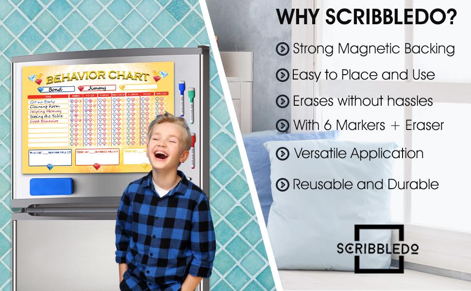 Dry Erase Multiple Kids Child Behavior Chart Refrigerator White Board Planner 6 Quality Markers