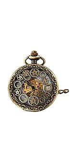 JewelryWe Reloj de Bolsillo Bronce Retro, One Piece Pirata Cráneo, Reloj de Bolsillo Cuarzo Cadena de 80 cm, Buen Regalo: Amazon.es: Joyería