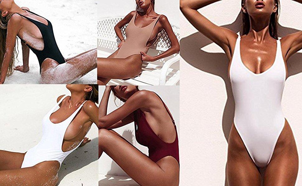 Women/'s One-piece Swimsuit Unpadded Monokini Mesh Net Side Beach Bikini Bathing