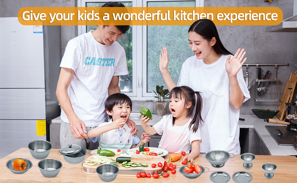 Kitchen Pretend Play Toys with Stainless Steel Cookware Pots and Pans Set, Cooking Utensils,