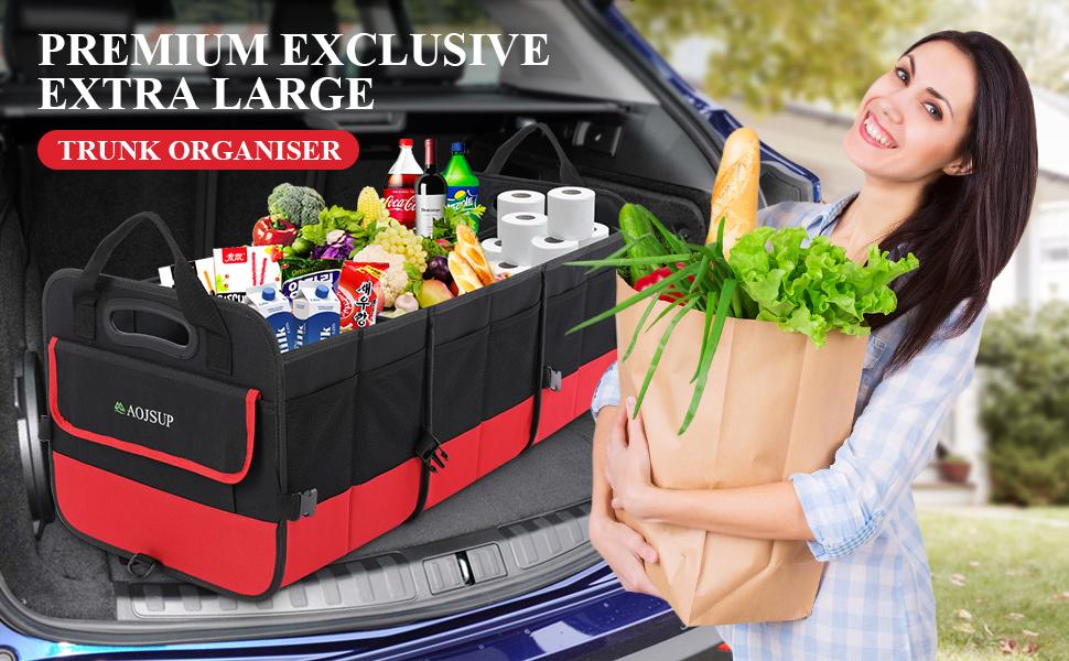 Aojsup Xxl Premium Kofferraum Organizer Kofferraumtasche Auto Faltbare Auto Kofferraum Ttragbarem Multifunktionellem Lagerplatz 95l Rot Auto