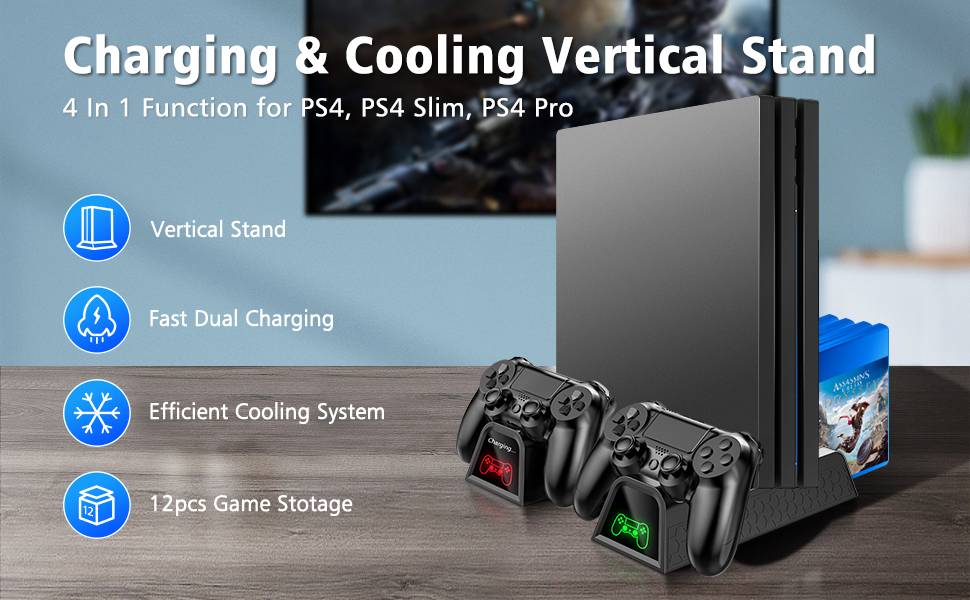 OIVO Regular PS4/ PS4 Slim/ PS4 Pro Cooler, Multifunctional Vertical  Cooling Stand, PS4 Controller Charger with LED Indicators,Charging Dock  Station