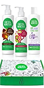 Kids Fresh MonsterGift Box with 2 in 1 shampoo & conditioner, shampoo & body wash, and bubble bath