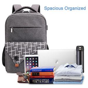 grey backpack laptop business bag for women men stylish
