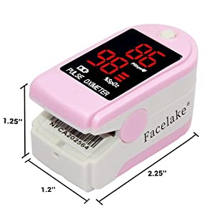Facelake 400 Pulse Oximeter Blood Oxygen SPO2 Monitor Screen Display Adults Kids Case Batteries