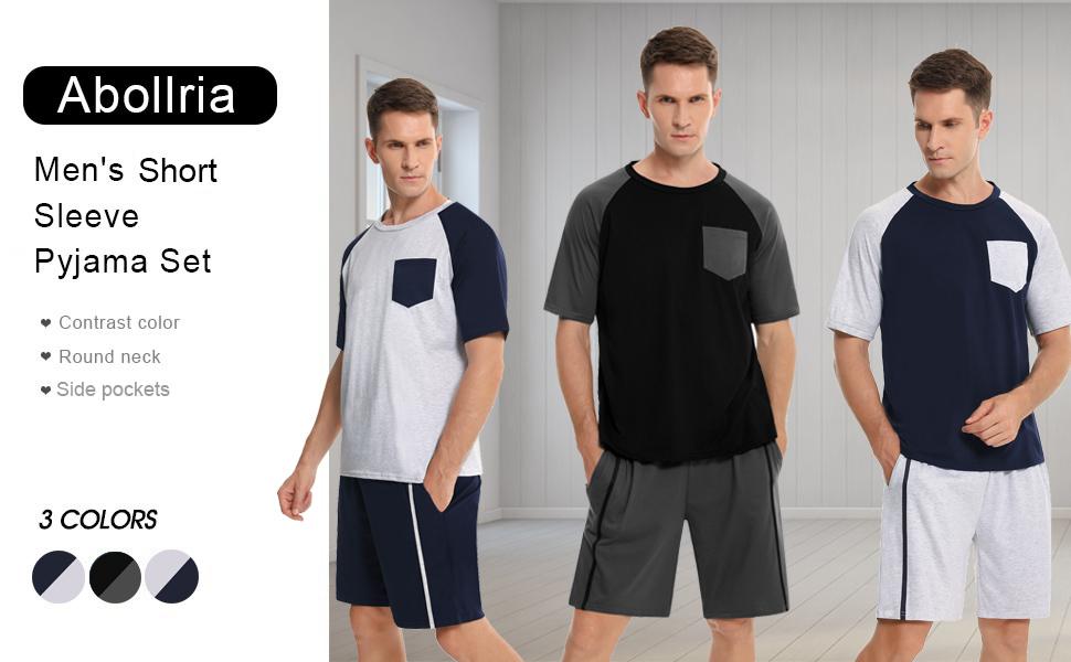Abollria Conjunto de Pijama Corto para Hombre Algodón Verano Raglan Manga Corta Tops y Pantalones Cortos Ropa de Dormir