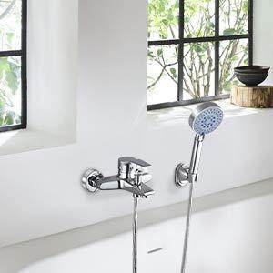 WOOHSE 5 modos Grifo Mezclador Exterior Para Ducha y Baño Con Alcachofa, Manguera y Soporte, Montaje en pared, Cromado: Amazon.es: Bricolaje y herramientas