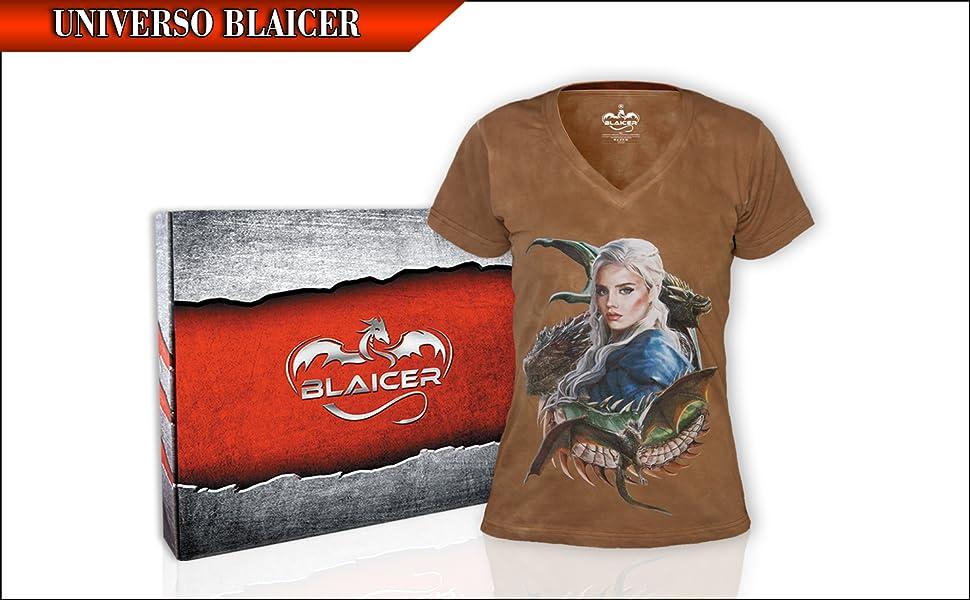 BLAICER Camiseta Mujer Khaleesi Game of Thrones de Manga Corta con Cuello en V - T Shirt Friki Daenerys con Dragones y Efecto Tie Dye: Amazon.es: Ropa y accesorios