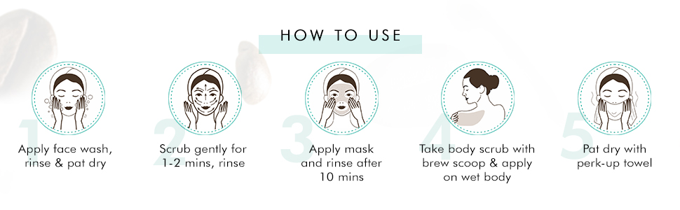 apply face wash srub gently for 1-2 mins apply mask take body scrub on wet body pat dry with towel