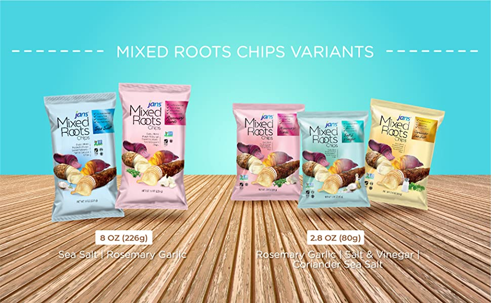 Jans Mixed Root Chips Flavors and Sizes