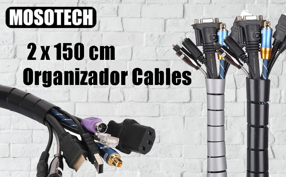MOSOTECH Organizador Cables, Cubre Cables de 2 x 1.5m, Flexible Funda Organizador Cables, Organizador de Cables Mesa, Recoge Cables para Office y PC Escritorio-Negro y Gris (Ø2.6cm y Ø2.2cm): Amazon.es: Electrónica