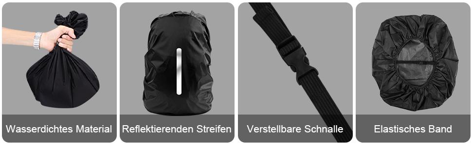 verschieden Größen *NEU Gregory wasserdichte Regenhülle für Rucksack schwarz